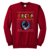 NFL - Carolina Panthers Christmas Grateful Dead Jingle Bears Football Ugly Sweatshirt-T-shirt-Youth Crewneck Sweatshirt-Red-XS-PopsSpot