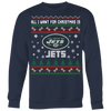 NFL - All I Want For Christmas Is New York Jets Football Shirts-T-shirt-Crewneck Sweatshirt Big Print-Navy-S-Itees Global