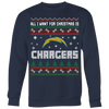 NFL - All I Want For Christmas Is San Diego Chargers Football Shirts-T-shirt-Crewneck Sweatshirt Big Print-Navy-S-Itees Global