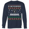 NFL - All I Want For Christmas Is Oakland Raiders Football Shirts-T-shirt-Crewneck Sweatshirt Big Print-Navy-S-Itees Global