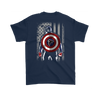 NFL - Atlanta Falcons Captain America Marvel Football American Flag Sweatshirt-T-shirt-Gildan Mens T-Shirt-Navy-S-PopsSpot