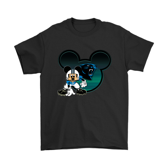 NFL – Carolina Panthers Mickey Mouse Football Shirts-T-shirt-Gildan Mens T-Shirt-Black-S-Itees Global