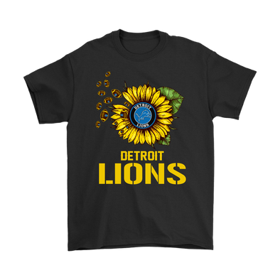 NFL - Detroit Lions Sunflower Football NFL Shirts-T-shirt-Gildan Mens T-Shirt-Black-S-PopsSpot