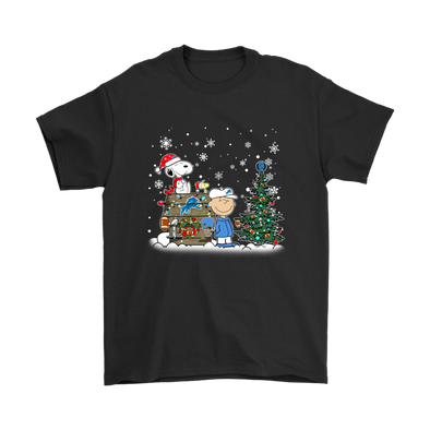 NFL – Detroit Lions Snoopy The Peanuts Movie Christmas Football Super Bowl Shirt-T-shirt-Gildan Mens T-Shirt-Black-S-PopsSpot