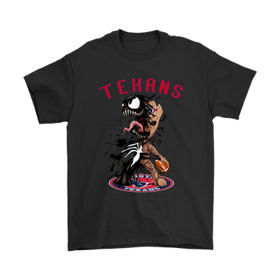 NFL – Houston Texans Venom Groot Guardian Of The Galaxy Football Shirts-T-shirt-Gildan Mens T-Shirt-Black-S-Itees Global