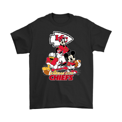 Mickey Mouse NFL Funny Kansas City Chiefs American Football Sports Youth TShirts-T-shirt-Gildan Mens T-Shirt-Black-S-PopsSpot