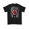 NFL - Cleveland Browns Captain America Marvel Football American Flag Sweatshirt-T-shirt-Gildan Mens T-Shirt-Black-S-PopsSpot