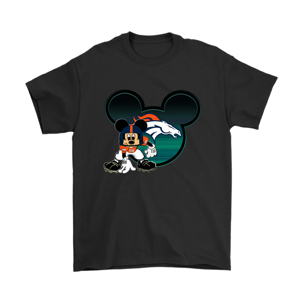 NFL – Denver Broncos Mickey Mouse Football Shirts-T-shirt-Gildan Mens T-Shirt-Black-S-Itees Global