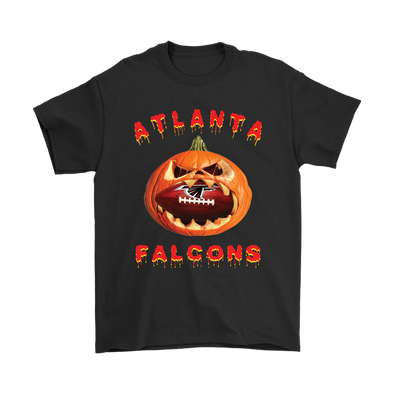 NFL – Halloween Pumpkin Atlanta Falcons Football NFL Shirts-T-shirt-Gildan Mens T-Shirt-Black-S-Itees Global