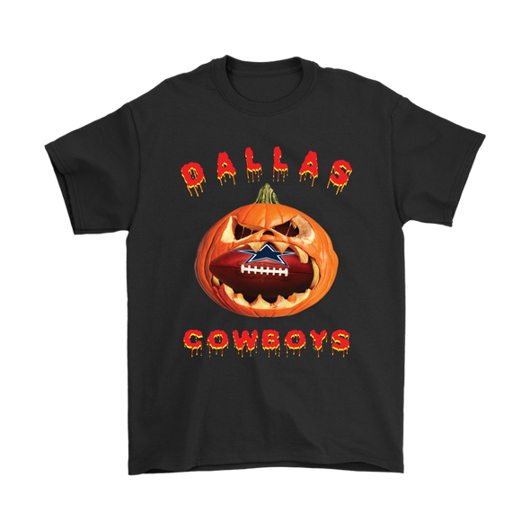 NFL – Halloween Pumpkin Dallas Cowboys Football NFL Shirts-T-shirt-Gildan Mens T-Shirt-Black-S-Itees Global