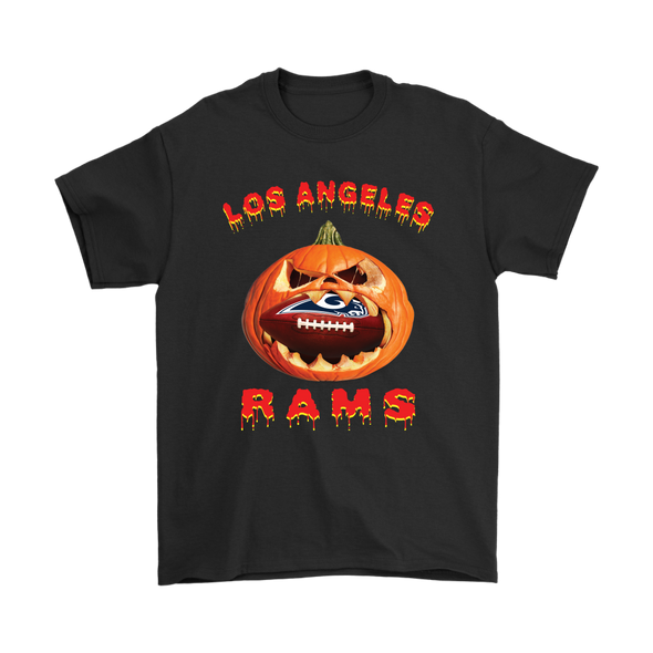 NFL – Halloween Pumpkin Los Angeles Rams Football NFL Shirts-T-shirt-Gildan Mens T-Shirt-Black-S-Itees Global