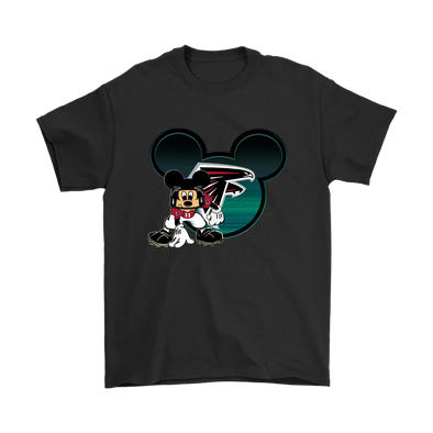 NFL – Atlanta Falcons Mickey Mouse Football Shirts-T-shirt-Gildan Mens T-Shirt-Black-S-PopsSpot