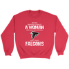 NFL - Never Underestimate A Woman Who Watches Football And Loves Atlanta Falcons Sweatshirt-T-shirt-Crewneck Sweatshirt-Red-S-PopsSpot