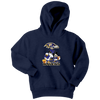 NFL - Baltimore Ravens Mickey Mouse Donald Duck Goofy Football Shirt-T-shirt-Youth Hoodie-Navy-XS-PopsSpot
