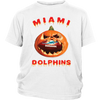 NFL – Halloween Pumpkin Miami Dolphins Football NFL Shirts-T-shirt-District Youth Shirt-White-XS-Itees Global