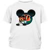 NFL – Cincinnati Bengals Mickey Mouse Football Shirts-T-shirt-District Youth Shirt-White-XS-PopsSpot