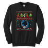 NFL - Carolina Panthers Christmas Grateful Dead Jingle Bears Football Ugly Sweatshirt-T-shirt-Youth Crewneck Sweatshirt-Black-XS-PopsSpot