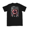 NFL - Atlanta Falcons Captain America Marvel Football American Flag Sweatshirt-T-shirt-Gildan Womens T-Shirt-Black-S-PopsSpot