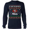 NFL - All I Want For Christmas Is San Francisco 49ers Football Shirts-T-shirt-Long Sleeve Shirt-Navy-S-PopsSpot