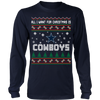 NFL - All I Want For Christmas Is Dallas Cowboys Football Shirts-T-shirt-Long Sleeve Shirt-Navy-S-PopsSpot