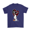 Atlanta Falcons Snoopy Football Sports Shirts-T-shirt-Gildan Mens T-Shirt-Purple-S-Itees Global