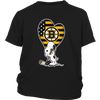 Boston Bruins Snoopy Hockey Sports Shirts-T-shirt-District Youth Shirt-Black-XS-Itees Global