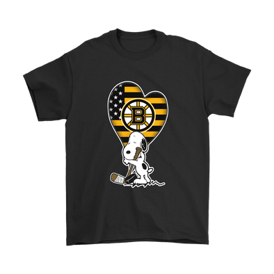 Boston Bruins Snoopy Hockey Sports Shirts-T-shirt-Gildan Mens T-Shirt-Black-S-Itees Global