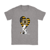 Boston Bruins Snoopy Hockey Sports Shirts-T-shirt-Gildan Womens T-Shirt-Sport Grey-S-Itees Global