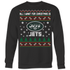 NFL - All I Want For Christmas Is New York Jets Football Shirts-T-shirt-Crewneck Sweatshirt Big Print-Black-S-Itees Global