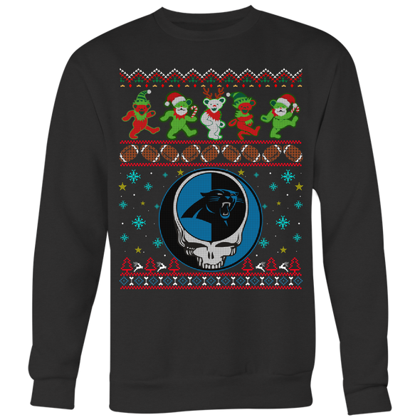 NFL - Carolina Panthers Christmas Grateful Dead Jingle Bears Football Ugly Sweatshirt-T-shirt-Crewneck Sweatshirt Big Print-Black-S-PopsSpot