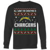 NFL - All I Want For Christmas Is San Diego Chargers Football Shirts-T-shirt-Crewneck Sweatshirt Big Print-Black-S-Itees Global