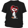 Kansas City Chiefs Snoopy Football Sports Shirts-T-shirt-District Youth Shirt-Black-XS-PopsSpot