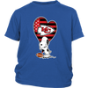 Kansas City Chiefs Snoopy Football Sports Shirts-T-shirt-District Youth Shirt-Royal Blue-XS-PopsSpot