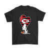 Kansas City Chiefs Snoopy Football Sports Shirts-T-shirt-Gildan Mens T-Shirt-Black-S-PopsSpot