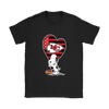 Kansas City Chiefs Snoopy Football Sports Shirts-T-shirt-Gildan Womens T-Shirt-Black-S-PopsSpot