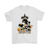 Mickey Mouse New Orleans Saints American Football NFL Sports Shirts-T-shirt-Gildan Mens T-Shirt-White-S-PopsSpot