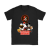 Mickey Mouse NFL Cleveland Browns American Football Sports Shirts-T-shirt-Gildan Womens T-Shirt-Black-S-Itees Global