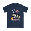 Mickey Mouse NFL Houston Texans American Football Sports Shirts-T-shirt-Gildan Womens T-Shirt-Navy-S-Itees Global