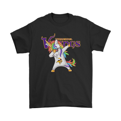 Minnesota Vikings Unicorn Dabbing Football Sports Shirts-T-shirt-Gildan Mens T-Shirt-Black-S-PopsSpot