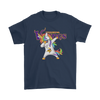 Minnesota Vikings Unicorn Dabbing Football Sports Shirts-T-shirt-Gildan Mens T-Shirt-Navy-S-PopsSpot