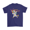 Minnesota Vikings Unicorn Dabbing Football Sports Shirts-T-shirt-Gildan Mens T-Shirt-Purple-S-PopsSpot