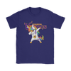 Minnesota Vikings Unicorn Dabbing Football Sports Shirts-T-shirt-Gildan Womens T-Shirt-Purple-S-PopsSpot