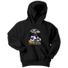 NFL - Baltimore Ravens Mickey Mouse Donald Duck Goofy Football Shirt-T-shirt-Youth Hoodie-Black-XS-PopsSpot