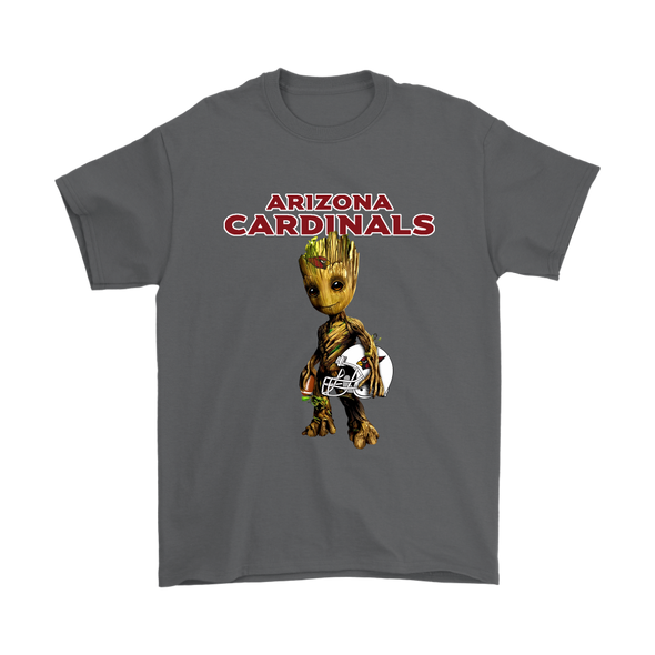 NFL - Arizona Cardinals Guardians Of The Galaxy Groot NFL Football Shirts-T-shirt-Gildan Mens T-Shirt-Charcoal-S-Itees Global