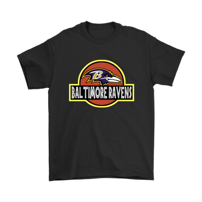 NFL - Baltimore Ravens Jurassic World: Fallen Kingdom Football NFL Shirts-T-shirt-Gildan Mens T-Shirt-Black-S-PopsSpot
