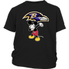 NFL - Baltimore Ravens Mickey Mouse Dabbing NFL Football Shirts-T-shirt-District Youth Shirt-Black-XS-Itees Global