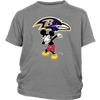 NFL - Baltimore Ravens Mickey Mouse Dabbing NFL Football Shirts-T-shirt-District Youth Shirt-Sport Grey-XS-Itees Global