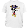 NFL - Baltimore Ravens Mickey Mouse Dabbing NFL Football Shirts-T-shirt-District Youth Shirt-White-XS-Itees Global