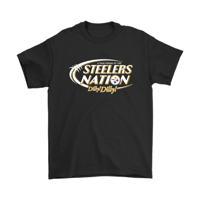 NFL – Bud Light Dilly Dilly A True Friend Of The Pittsburgh Steelers Nation NFL Football Shirt-T-shirt-Gildan Mens T-Shirt-Black-S-Itees Global
