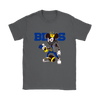 NFL - Buffalo Bills Mickey Mouse Is Wearing A Peace Necklace Disney NFL Football Shirt-T-shirt-Gildan Womens T-Shirt-Charcoal-S-Itees Global